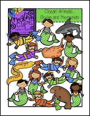 http://www.teacherspayteachers.com/Product/Ocean-Animals-Scuba-and-Mermaid-Kids-Creative-Clips-Digital-Clipart-821267