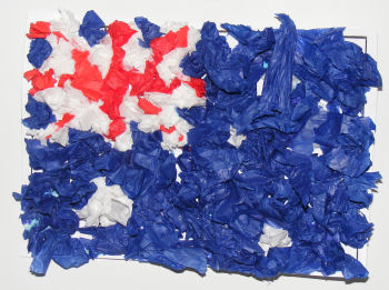 some scrunch paper or construction paper to create an Australian flag collage