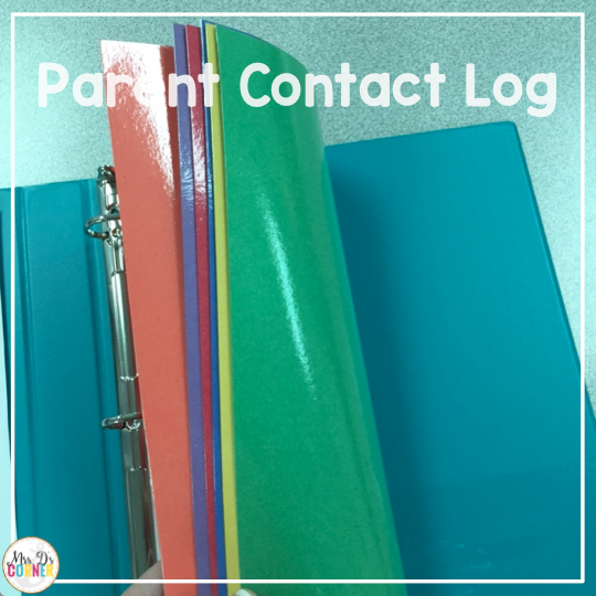 I laminate construction paper or cardstock to make my own parent contact log dividers.