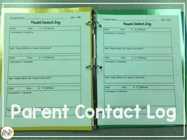Each section of the color coded classroom parent contact log contains the same pages, with a spot for each parent interaction... whether that's phone, email, or in person.
