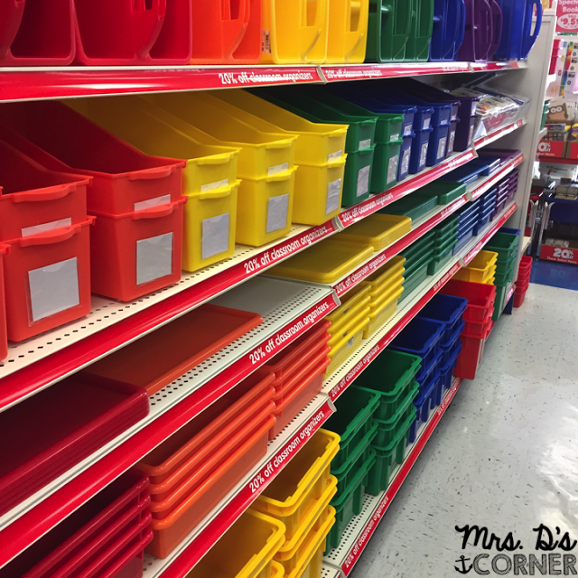 The teacher Heaven in the form of the color coded bin aisle at Lakeshore Learning.