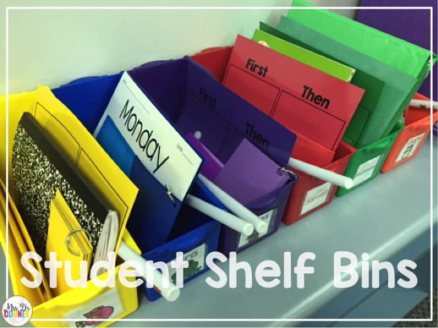 Student color coded bins in the color coded classroom. Inside are a plethora of things, like progress monitoring rings, sight word envelopes, reading points, first then charts, and more.