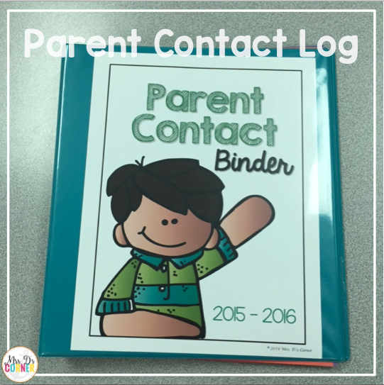 Inside of the parent contact binder are color coded tabs and dividers to help me stay organized when I speak to parents.