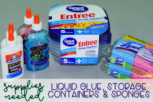 Supplies needed to make glue sponges for your special ed classroom include containers with lids, sponges, and liquid glue of choice.
