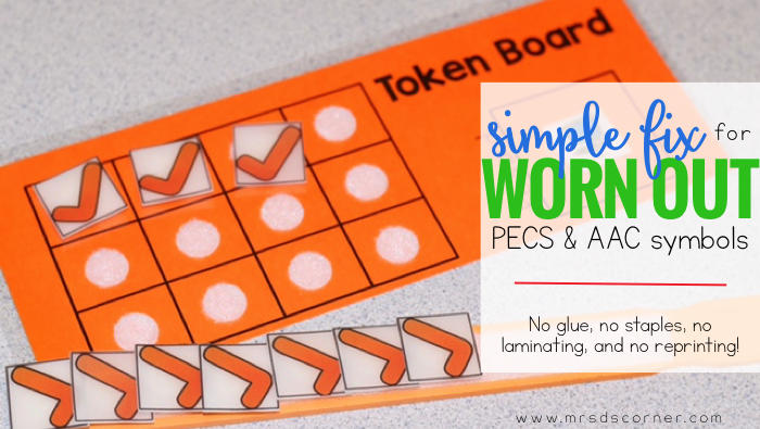 Every single special education teacher has had the experience of laminating something... and weeks later, it falls apart. This simple way to fix aac device symbols (PECS and AAC symbols) will save you time and money. Free token board and visuals included .Blog post at Mrs. D's Corner.