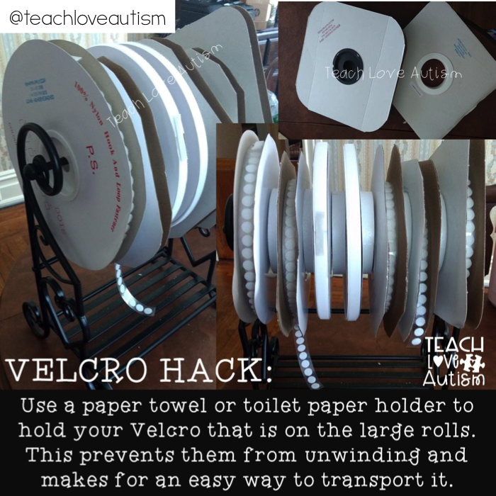 Use a paper towel holder as a velcro hack.