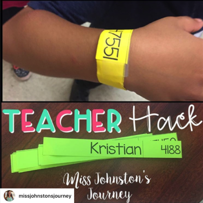 Use paper bracelets during the first week of school for reminders.