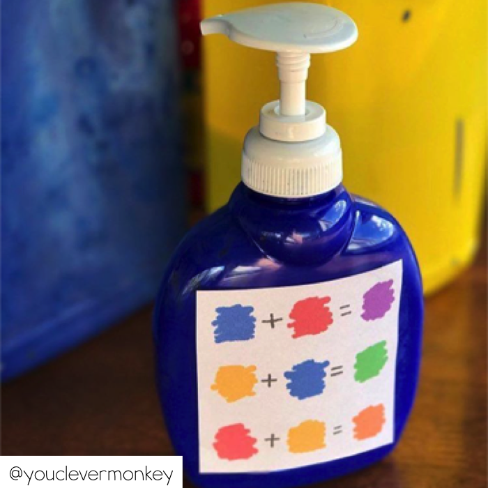 Use cleaned out containers to help students get paint.