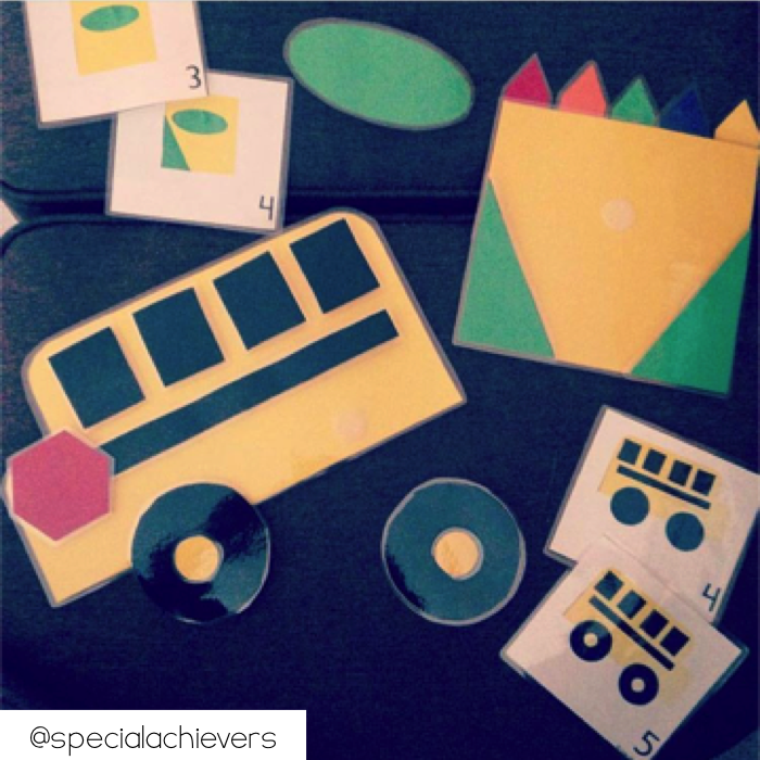 Use easy art packs as velcro activities.