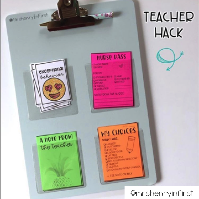 Use clear pouches on the back of a clipboard to keep notes and other things.